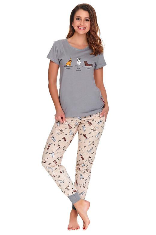 Dámske pyžamo Yoga dog šedé