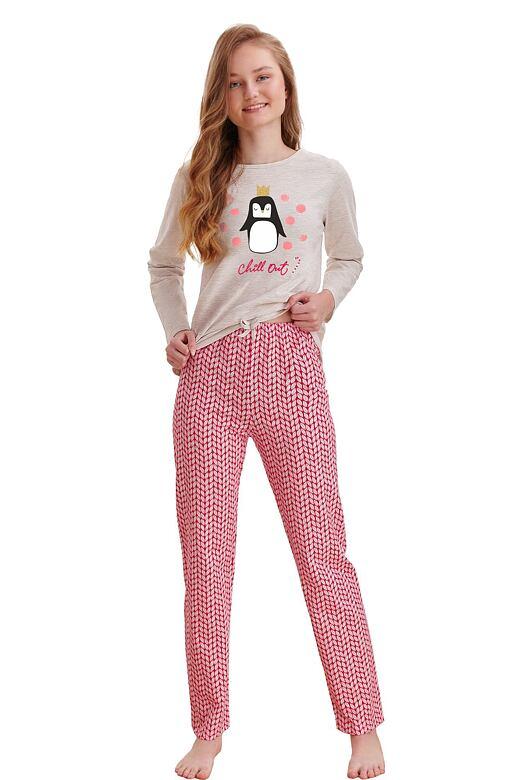 Dievčenské pyžamo Maja béžové tučniak