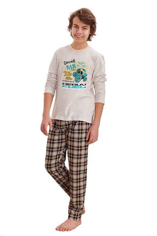 Chlapčenské pyžamo Leo cross béžové