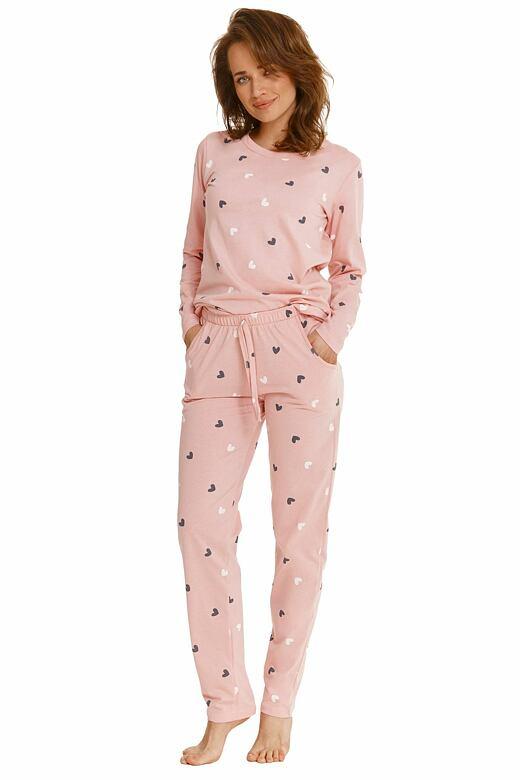 Dámske pyžamo Luna ružové so srdiečkami