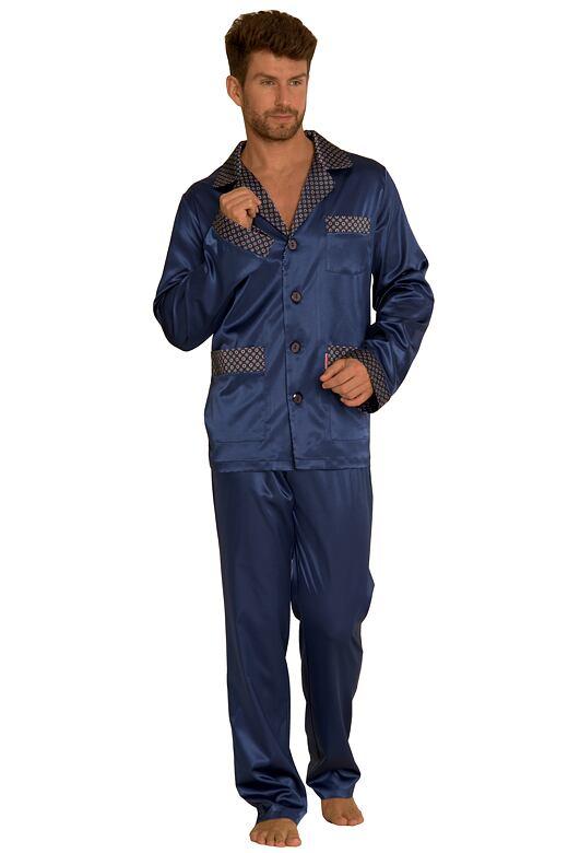 Saténové pánske pyžamo Adam tmavo modré