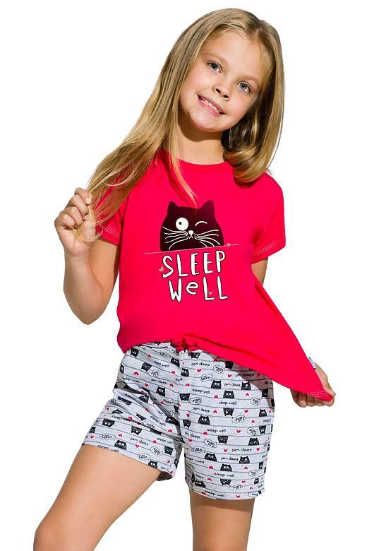 Dievčenské bavlnené pyžamo s mačkou Hanička malinové