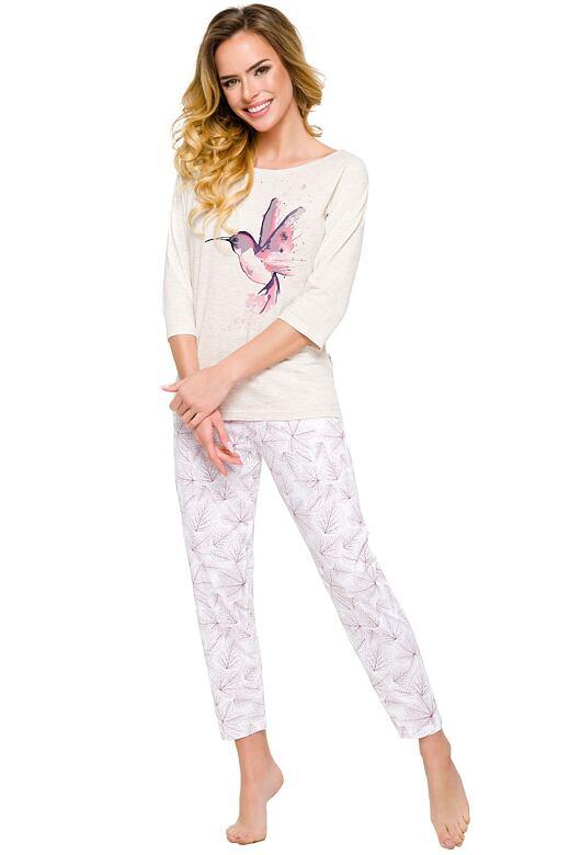 Dámske bavlnené pyžamo Agnes s kolibríkom