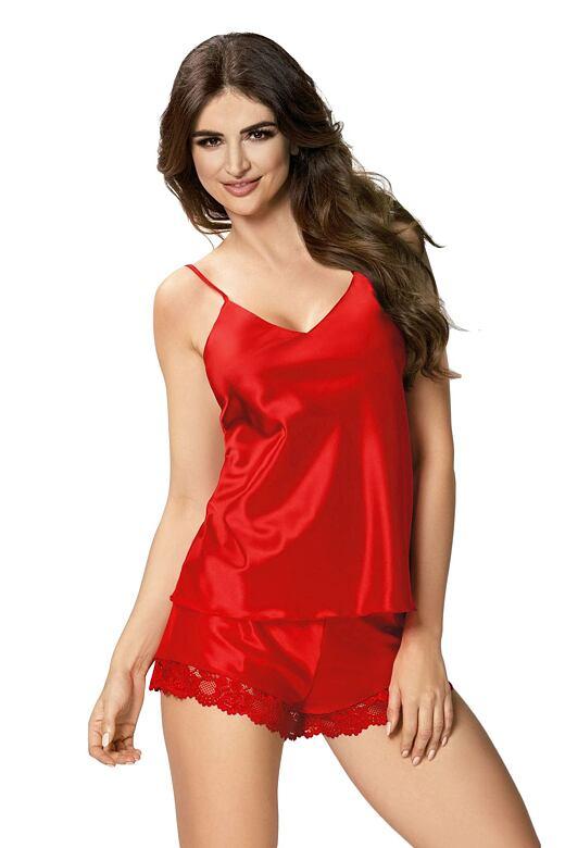 Dámske saténové pyžamo Karen červené - darčekové balenie