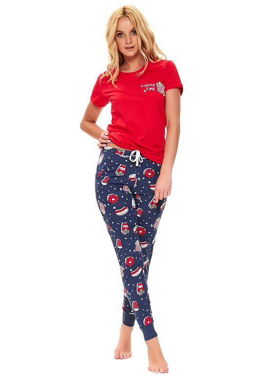 Dámske pyžamo Dafne červené popcorn