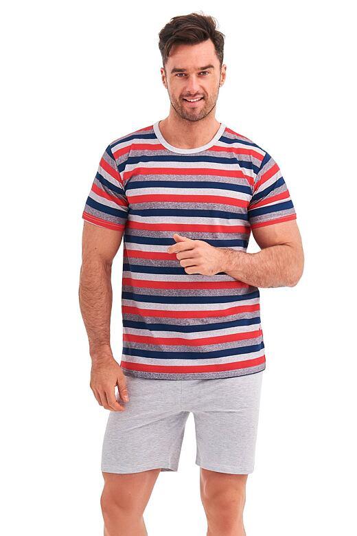 Krátke pyžamo Max červené prúžky
