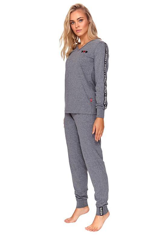 Dámske pyžamo Dory šedé so srdiečkami
