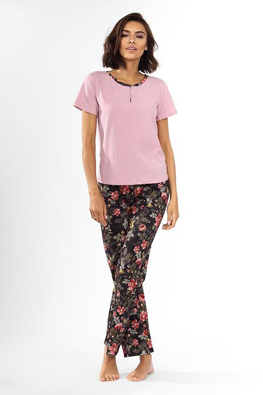 Dámske pyžamo Madie ružové s kvetinami
