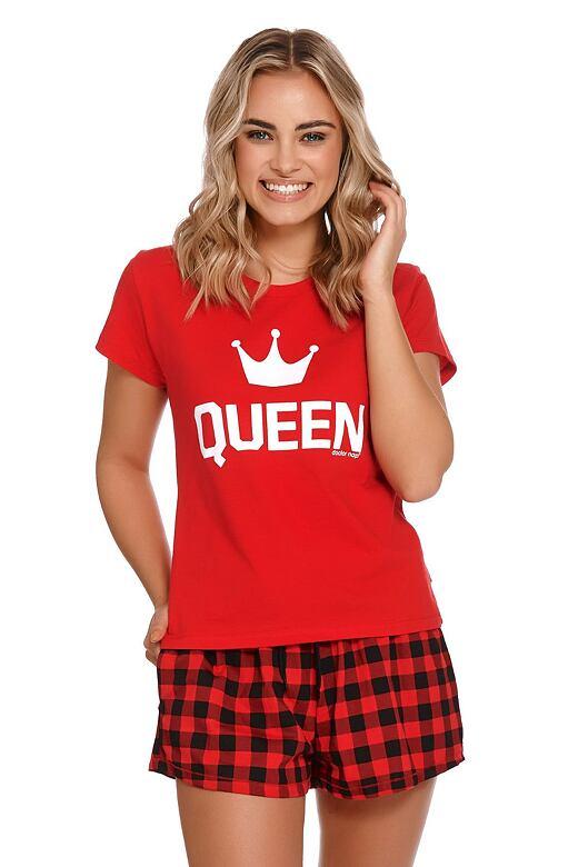 Krátke dámske pyžamo Queen červené