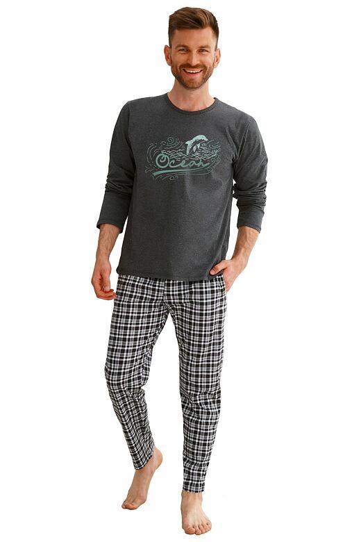 Pánske pyžamo Matt tmavo sivé s potlačou