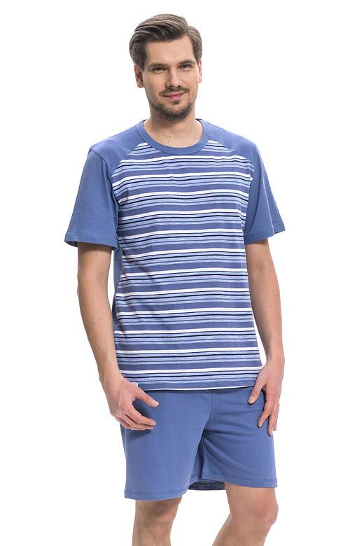 Pánske bavlnené pyžamo Rudolf modré