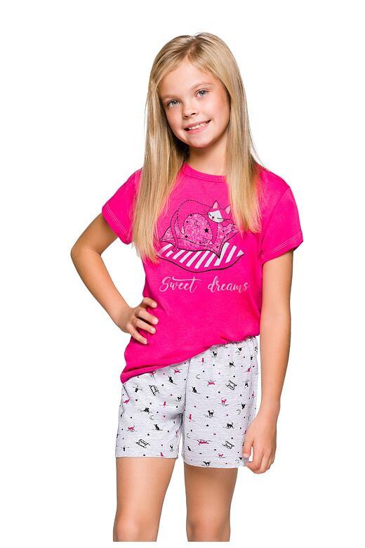 Dievčenské pyžamo Hanička ružové s mačičkou