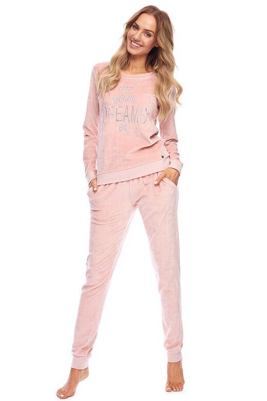 Velúrové pyžamo Tracy ružové