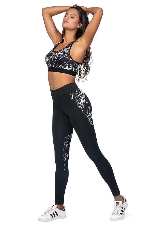Fitness legíny Sonia čierne mramor