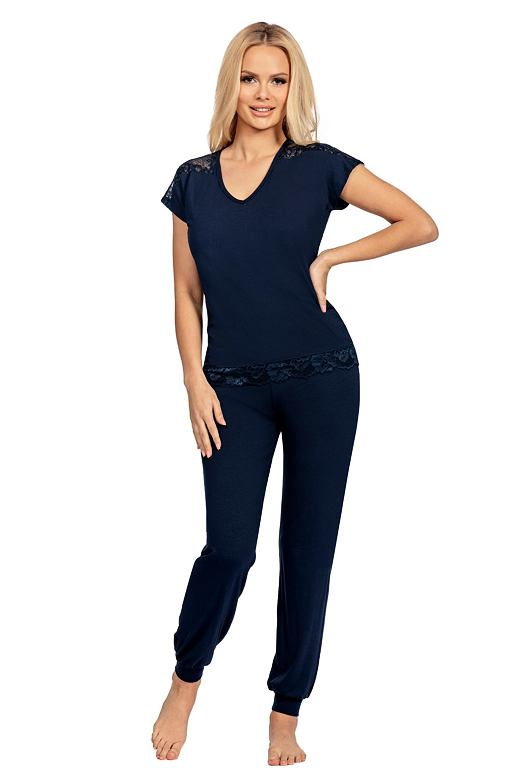 Luxusné pyžamo Lena tmavo modré - darčekové balenie