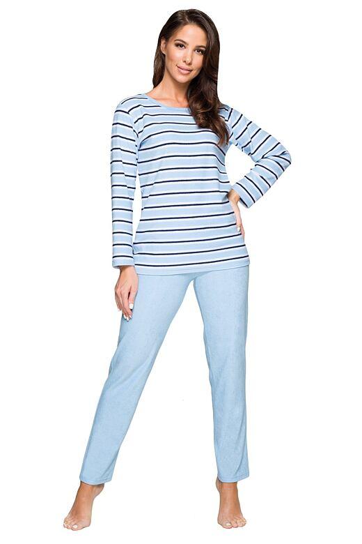 Dámske froté pyžamo Leila sveto modré prúžkované