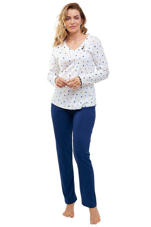 Dámske pyžamo Lila biele s bodkami