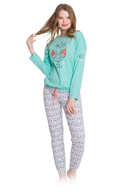 Dámske pyžamo Marry sova tyrkysové
