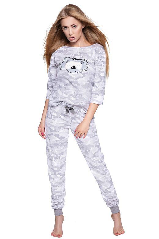 Dámske pyžamo Ambrell sivé maskáčový vzor s koalou