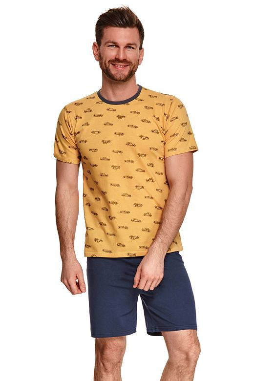 Pánske pyžamo Max žlté s autami