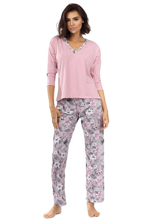 Dámske pyžamo Delisa svetlo ružové s kvetinami
