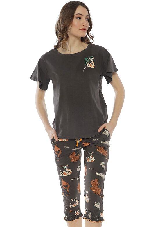 Dámske pyžamo Kiara hnedé s mačkami