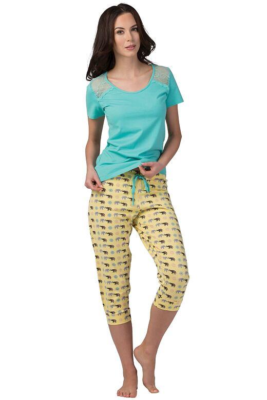 Dámske tyrkysové bavlnené pyžamo Patty