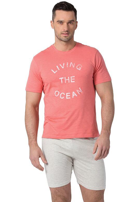 Pánske bavlnené pyžamo Liam koralové