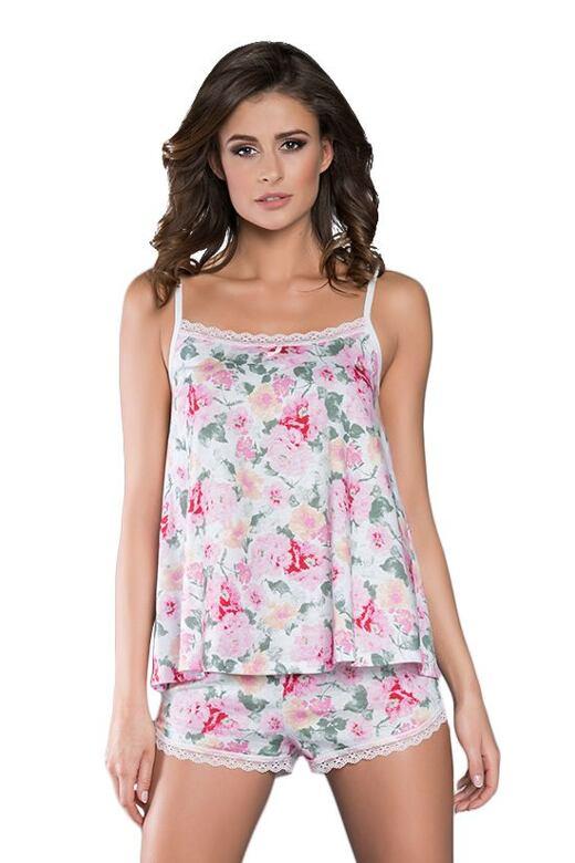 Dámske pyžamo na ramienkách Naďa kvetiny