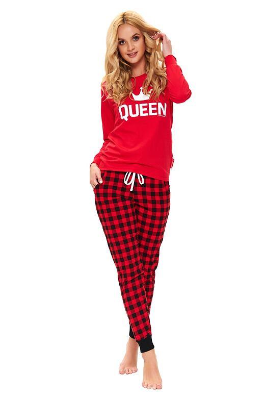 Dámske pyžamo Queen červené dlhé
