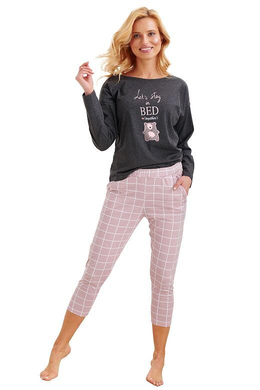 Dámske pyžamo Molly tmavo šedé s ružovým medveďom