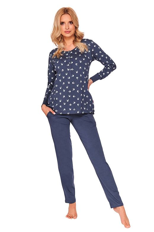 Dámske pyžamo Cali tmavo modré s lastovičkami