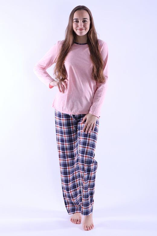 Dámske pyžamo Erika 3 ružové s káro vzorom