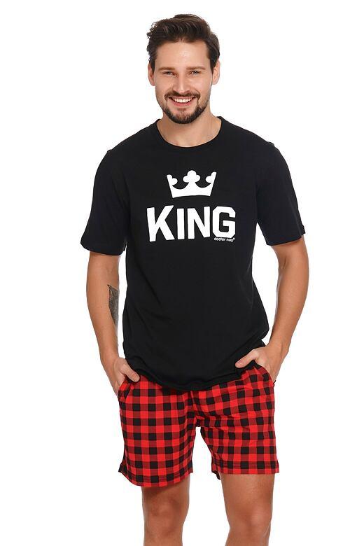 Krátke pánske pyžamo King čierne