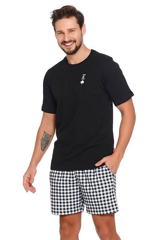 Krátke pánske pyžamo Pikový kráľ čierne
