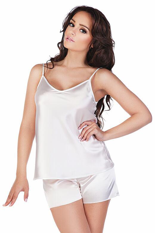 Dámske saténové pyžamo Classic biele