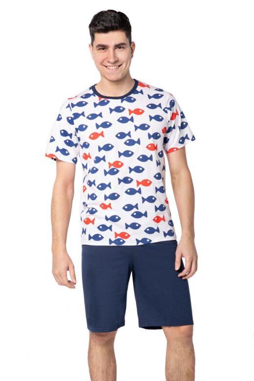 Pánske pyžamo Edward biele rybky