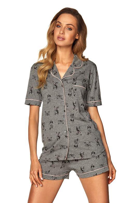 Dámske zapínacie pyžamo Corina šedé buldog