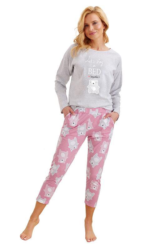 Dámske pyžamo Molly svetle šedé s medveďom