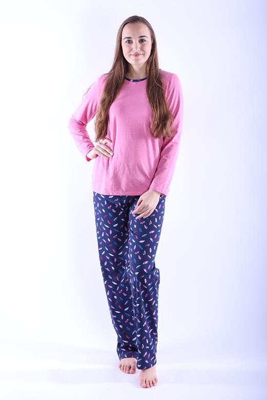 Dámske pyžamo Erika 1 ružové s pierkami