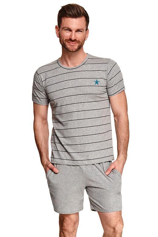 Pánske pyžamo Bruno sivé s pruhmi