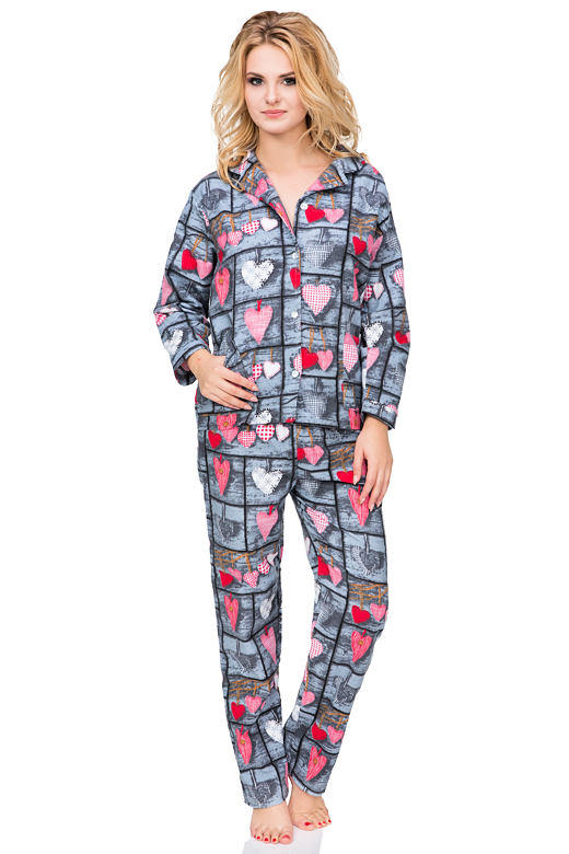 Flanelové pyžamo Wally rozopínajúce L
