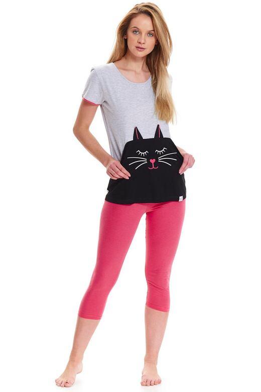 Dámske bavlnené pyžamo Fito s mačkou