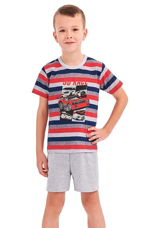 Chlapčenské pyžamo Max červené prúžky