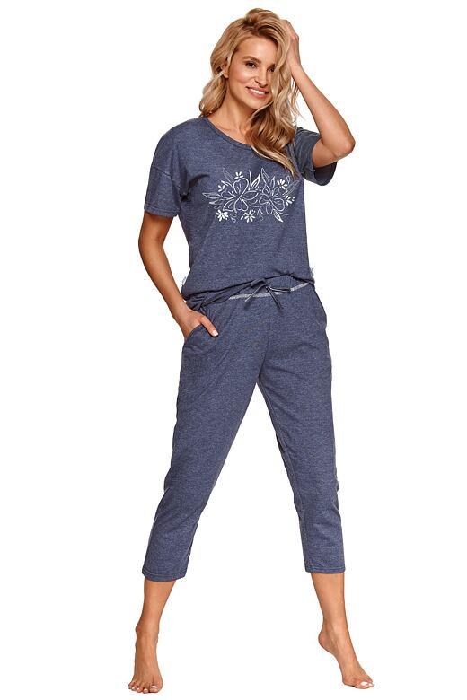 Dámske pyžamo Alexa tmavo modré s kvetmi