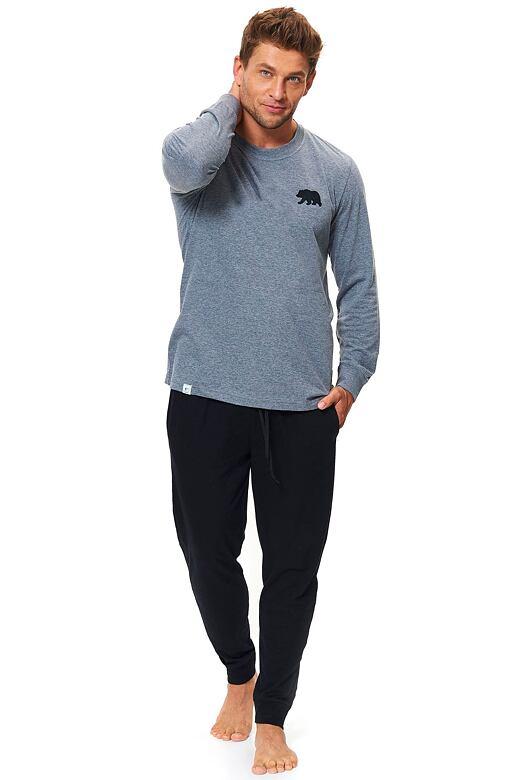 Bavlnené pánske pyžamo Bear sivé