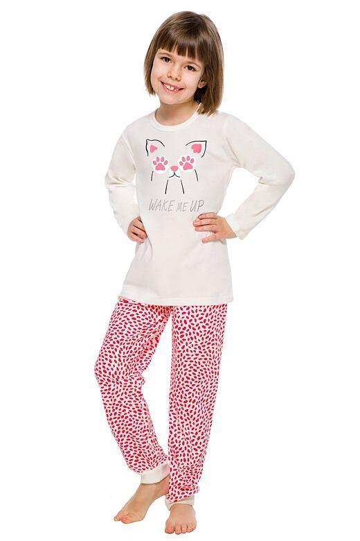 Dievčenské pyžamo Elza ecru s mačičkou
