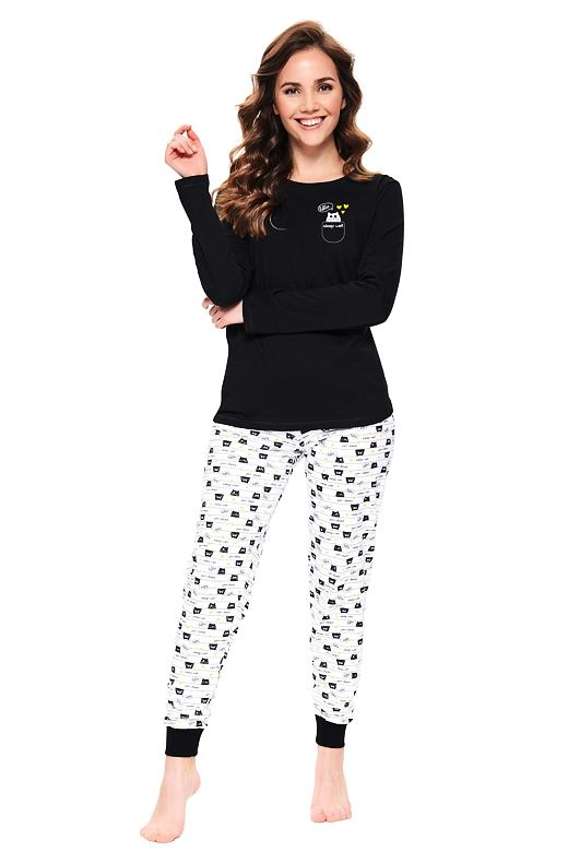 Dlhé dámske pyžamo Hello cat čierne