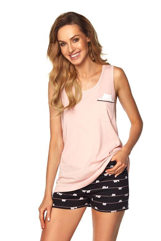 Krátke dámske pyžamo Aisha ružové mačka