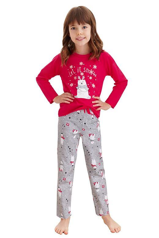 Dievčenské pyžamo Maja červené macko a vločky